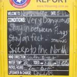 Informationsskylt stranden Australien